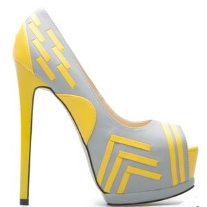 🎈beau t ash, Shoe Dazzle, gray and yellow heels